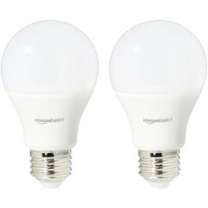AmazonBasics 60 Watt Equivalent, Daylight, Dimmable, A19 LED Light Bulb | 2-Pack