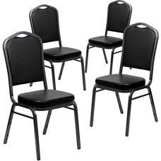 Flash Furniture 4 Pk. HERCULES Series Crown Back Stacking Banquet Chair in Black Vinyl - Silver Vein Frame