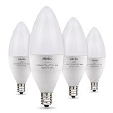 Albrillo E12 LED Bulb Candelabra Light Bulbs 6W, 60 Watt Equivalent, Warm White 2700K Chandelier Bulbs, Decorative Candle Base, Non-Dimmable, 4 Pack