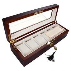 Yescom 6 Men/Women Wood Watch Display Case Glass Top Jewelry Collection Storage Box Organizer