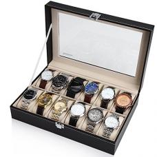 Readaeer Black Leather 12 Watch Box Case Organizer Display Storage Tray for Men & Women