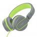 Ailihen I35 Stereo Lightweight Foldable Headphones Adjustable Headband Headsets with Microphone 3.5mm for Cellphones Smartphones Iphone Laptop Computer Mp3/4 Earphones (Grey/Green)