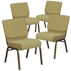 Flash Furniture 4 Pk. HERCULES Series 21''W Stacking Church Chair in Moss Green Fabric - Gold Vein Frame