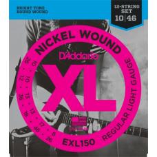 D'Addario EXL150 Nickel Wound Electric Guitar Strings, Regular Light 12-String Electric Guitar Strings, 10-46