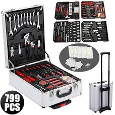 Yaheetech 799pcs Sturdy Aluminium Tool Set Chest Carry Wheeled Case Box Trolley